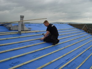 Matt re-roofing a bungalow in Barnoldswick